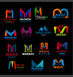 Letter m icons signs business creative font vector
