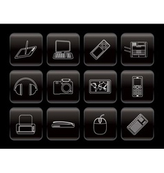 line hi-tech technical equipment icons vector image