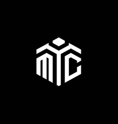 Mc monogram logo with abstract hexagon style vector