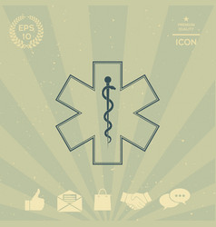 medical symbol of the emergency - star of life vector image