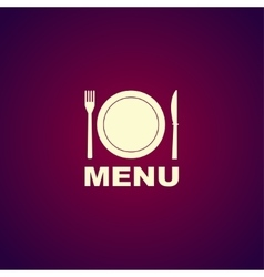 menu with cutlery sign vector image