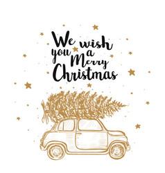 Merry christmas fir tree by car vector