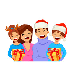 merry christmas greeting card with happy family vector image