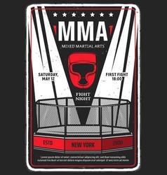 Mixed martial arts tournament grungy flyer poster vector