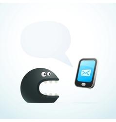 Monster talking on phone vector