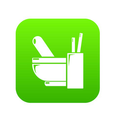 Mortar pestle icon green vector