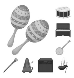 Musical instrument monochrome icons in set vector