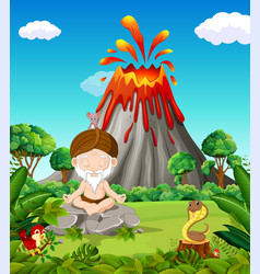 old man doing meditation in the mountain vector image