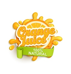 Orange juice natural label splash vector image