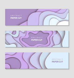 paper cut waves shape abstract template violet vector image