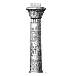 Pillar at the temple at edfu diminishing vector