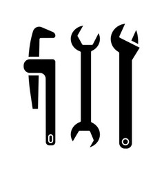 plumbing tools icon black vector image