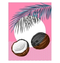 Poster with coconuts Tropical abstract background vector