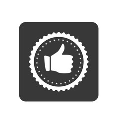 Quality control icon with hand thumb up sign vector