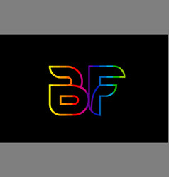 Rainbow color colored colorful alphabet letter bf vector