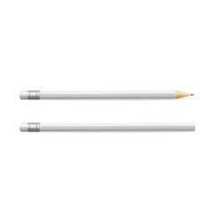 realistic detailed 3d wooden graphite white pencil vector image
