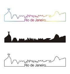 Rio de janeiro skyline linear style with rainbow vector