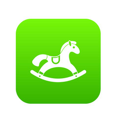 rocking horse icon digital green vector image