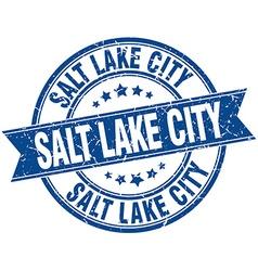 Salt lake city blue round grunge vintage ribbon vector