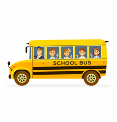 School bus - characters of happy students in a vector