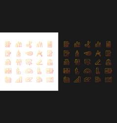 School supplies gradient icons set for dark vector