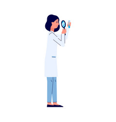 Scientist woman with magnifier researching flat vector