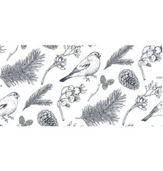 seamless pattern with christmas floral vector image