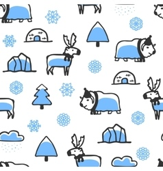 Seamless pattern with cute doodle reindeer and vector