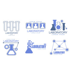 Set blue outline logos for chemical vector