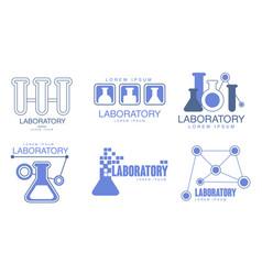 Set blue outline logos for chemical vector