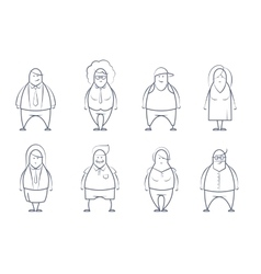 Set of line styled people vector