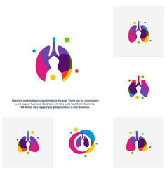 set of lungs with colorful logo concept health vector image