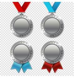 set of realistic 3d champion realistic 3d silver vector image