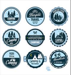 set outdoor adventure blue labels vector image