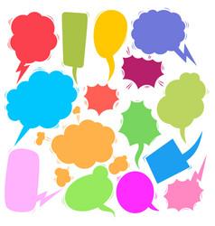 set retro comic empty colored speech bubbles vector image