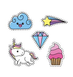 set unicorn with rainbow and cloud design vector image