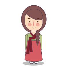 south korean traditional national clothes of korea vector image