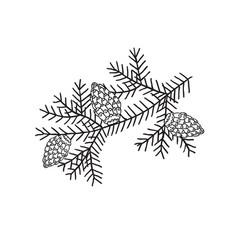 Spruce branch with bumps minimalist scandinavian vector