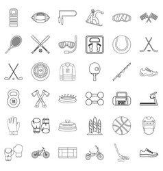 stadium icons set outline style vector image