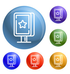 street light box icons set vector image