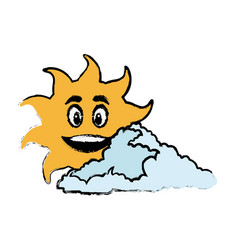 Sun and cloud cartoon mascot drawn vector