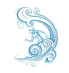 surfer man on the wave vector image