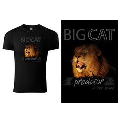 t-shirt print design with lion head vector image