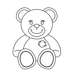 teddy bear toy in black and white vector image