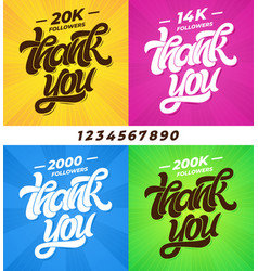 thank you followers set of banners for social vector image