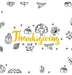 Thanksgiving Gold Greeting Postcard vector