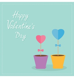 Two heart stick flowers in the pots Flat design vector image