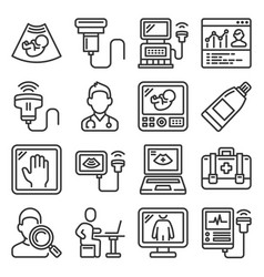 ultrasound diagnostic icons set on white vector image