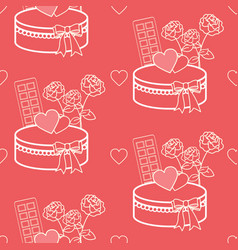 Valentines day gift and sweets pattern collection vector