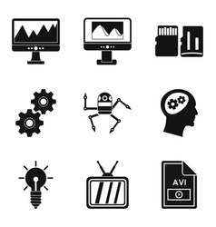 video signal icons set simple style vector image